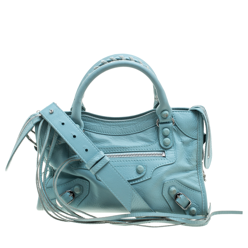 Balenciaga Vert Jade Leather Mini Covered Hardware City Bag