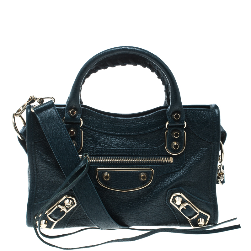 0a44275d20 ... Balenciaga Bleu Persian Leather Mini Classic Metallic Edge City Bag.  nextprev. prevnext