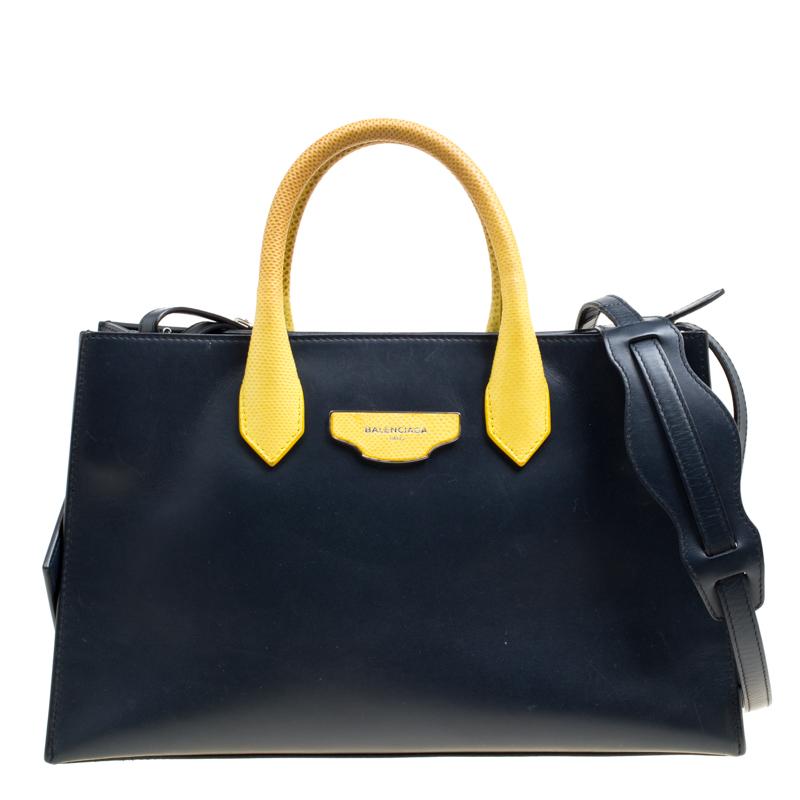 Balenciaga Blue/Yellow Leather Work S Top Handle Bag