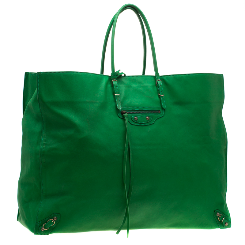 the sale of shoes excellent quality authentic Balenciaga Green Leather Papier A3 Tote
