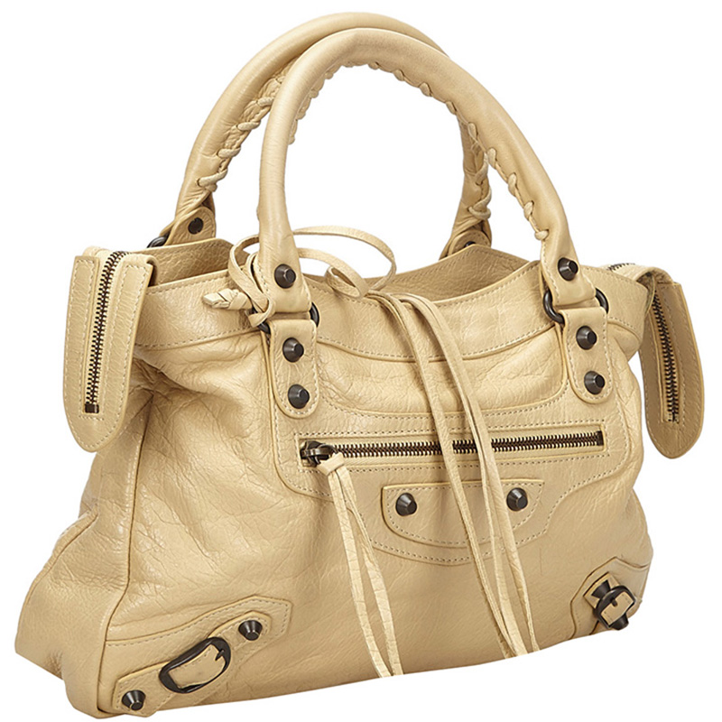 Balenciaga Beige Leather Motocross Classic First Satchel