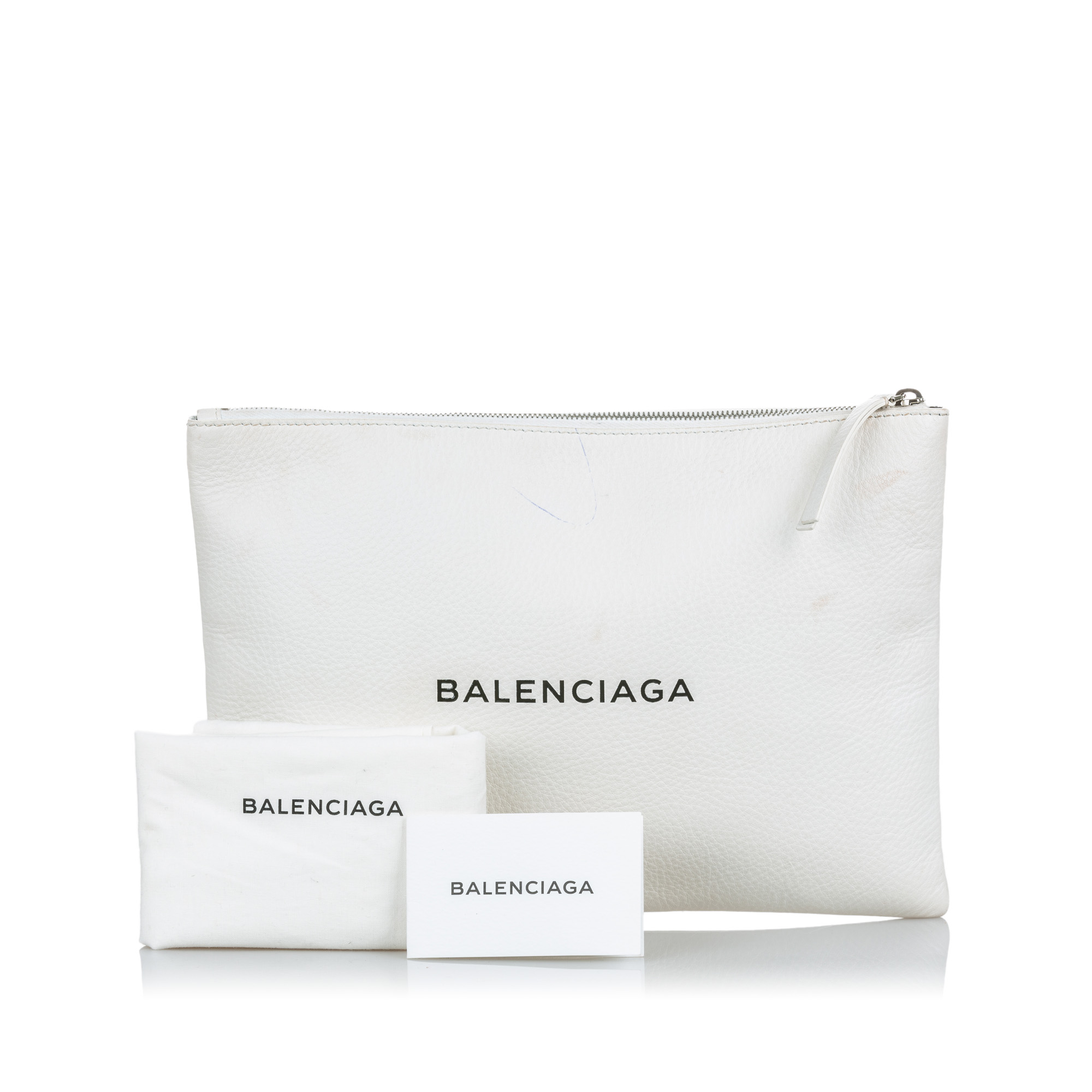 Balenciaga White Leather Everyday Clutch Bag