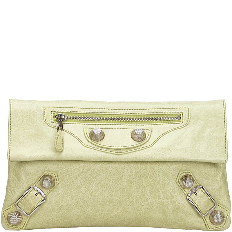 Balenciaga Green Arena Giant Envelope Clutch