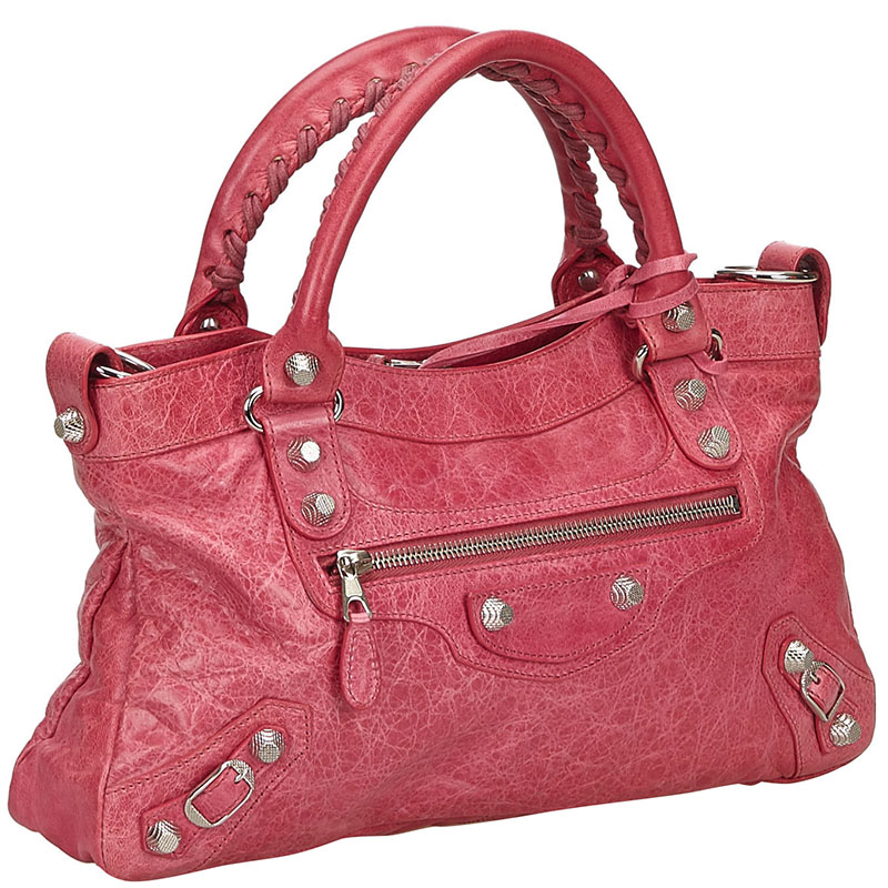 Balenciaga Pink Leather Motocross Leather Giant City Satchel  - buy with discount