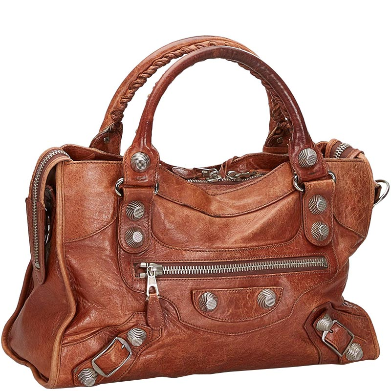 Balenciaga Brown Leather Motocross Giant City Satchel  - buy with discount