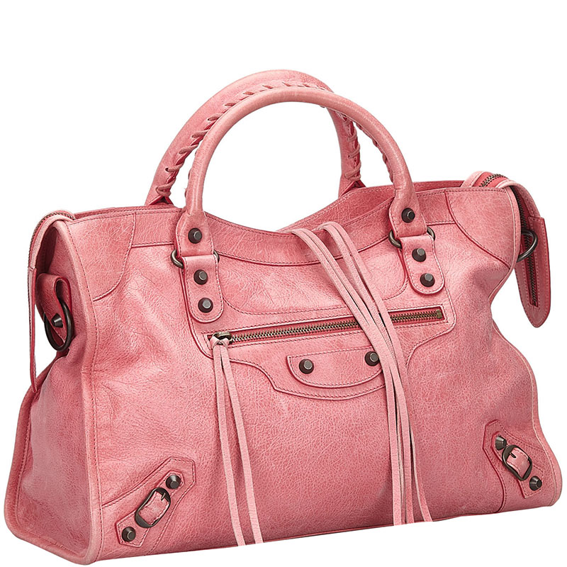 Balenciaga Pink Leather Motocross Classic City Satchel