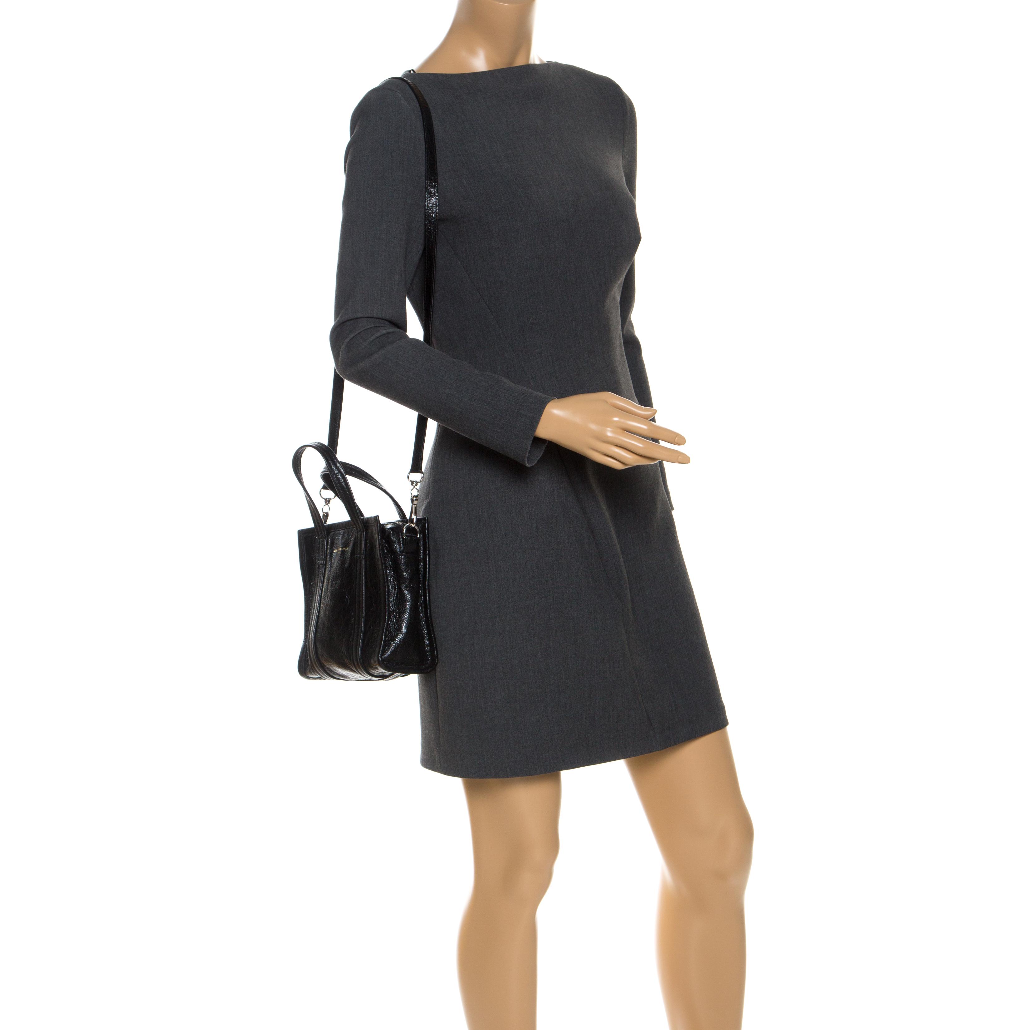 Balenciaga en Cuir Noir XS Bazar Shopper Tote