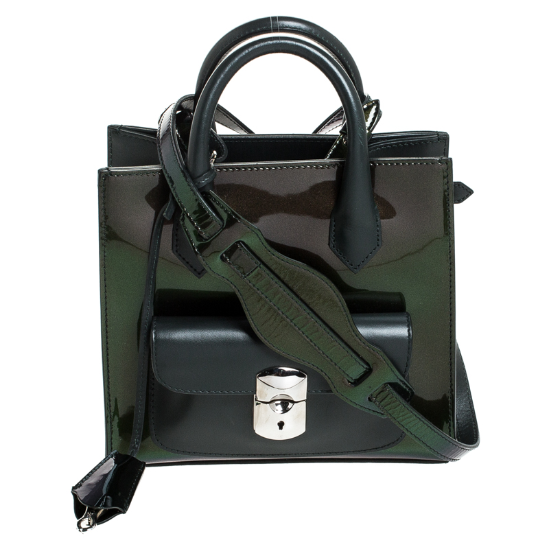 Balenciaga Dark Green Iridescent Patent Leather Mini Padlock All Afternoon Tote