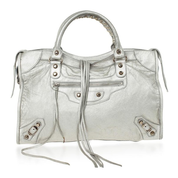 4da060ef2d73 Buy Balenciaga Metallic Classic Silver City Bag 25670 at best price ...