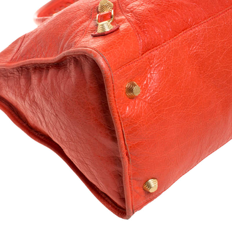 Balenciaga Orange Lambskin Leather Giant 21 Gold Hardware