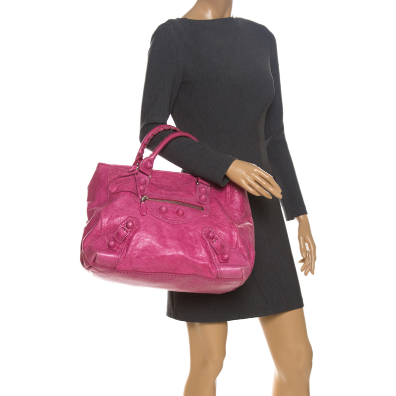 Balenciaga Grenadine Leather Brogues Covered GH Sunday Tote, Pink