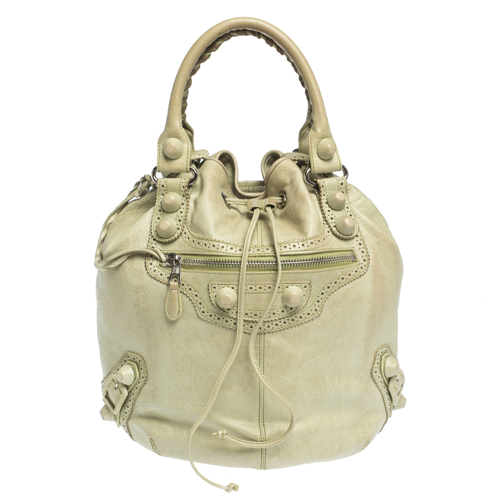 Balenciaga Mint Green Leather GCH 21 Pompon Hobo