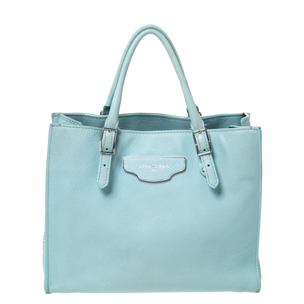 Balenciaga Light Green Leather Papier A4 Zip Around Tote