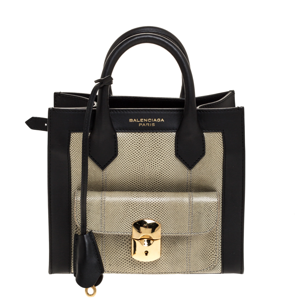 Balenciaga Black/Green Leather and Lizard Padlock Mini All Afternoon Tote