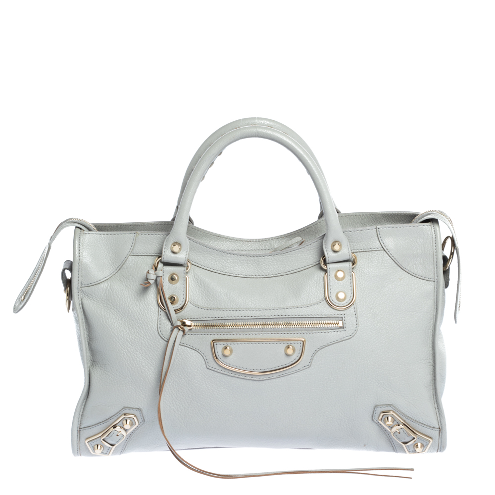 Pre-owned Balenciaga Gris Glace Leather Classic Metallic Edge City Bag In Grey