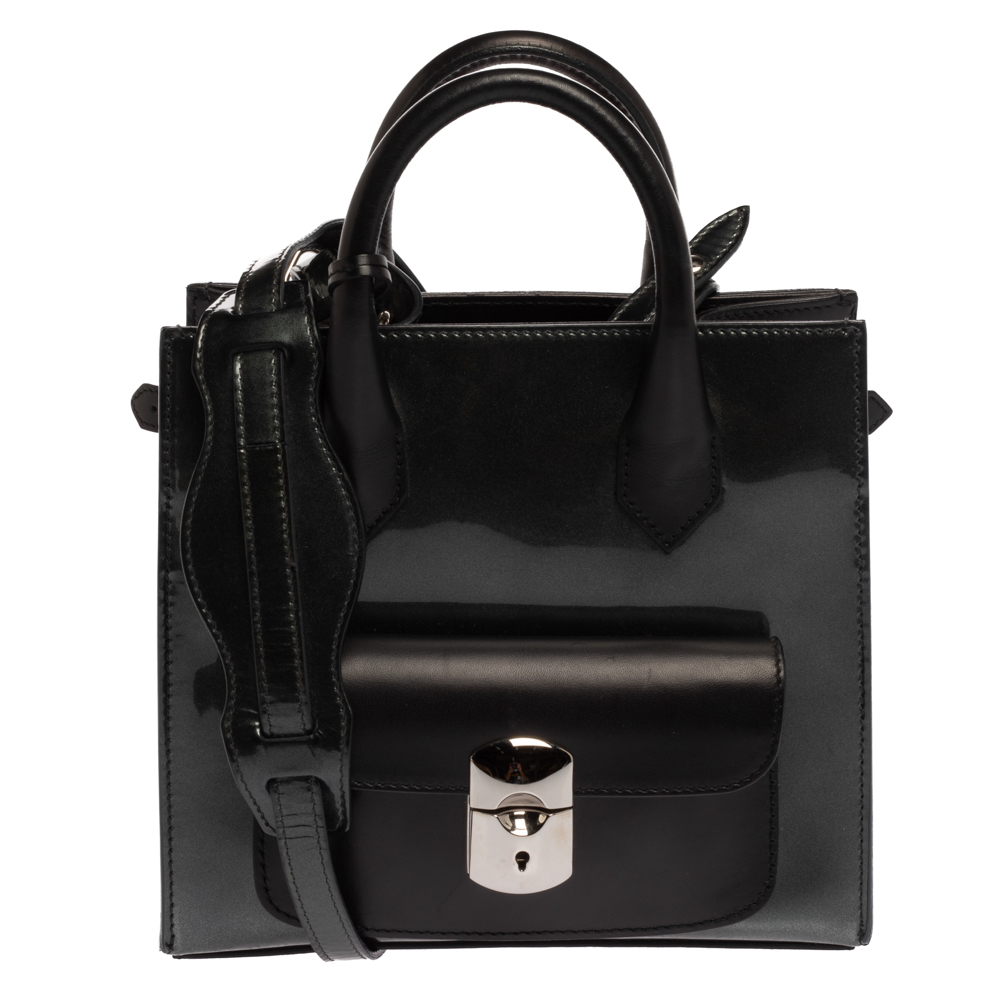 Balenciaga Black/Deep Green Patent Leather and Leather Padlock Mini All Afternoon Tote