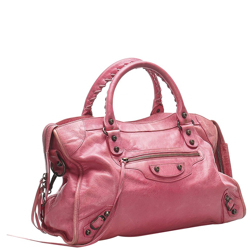 Balenciaga Pink Leather Motocross Classic City Satchel  - buy with discount