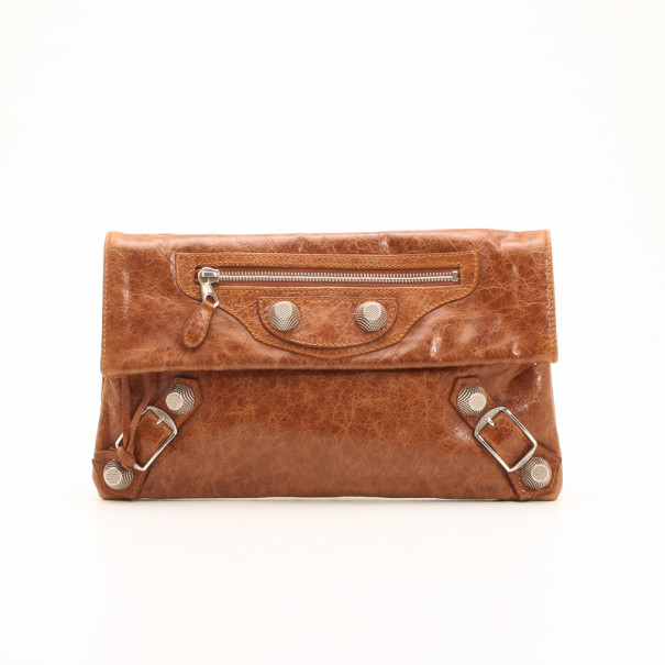 c714fd2429 Buy Balenciaga Brown Arena Giant Envelope Clutch 36475 at best price ...