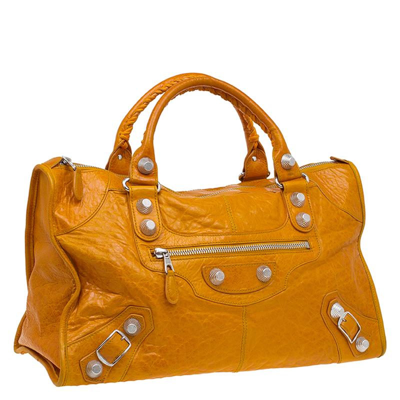 Balenciaga Tan Lambskin Leather Giant 21 Silver Hardware Work Bag