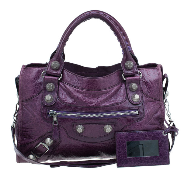 Buy Balenciaga Purple Lambskin Giant City Bag 6345 at best price  f34309133