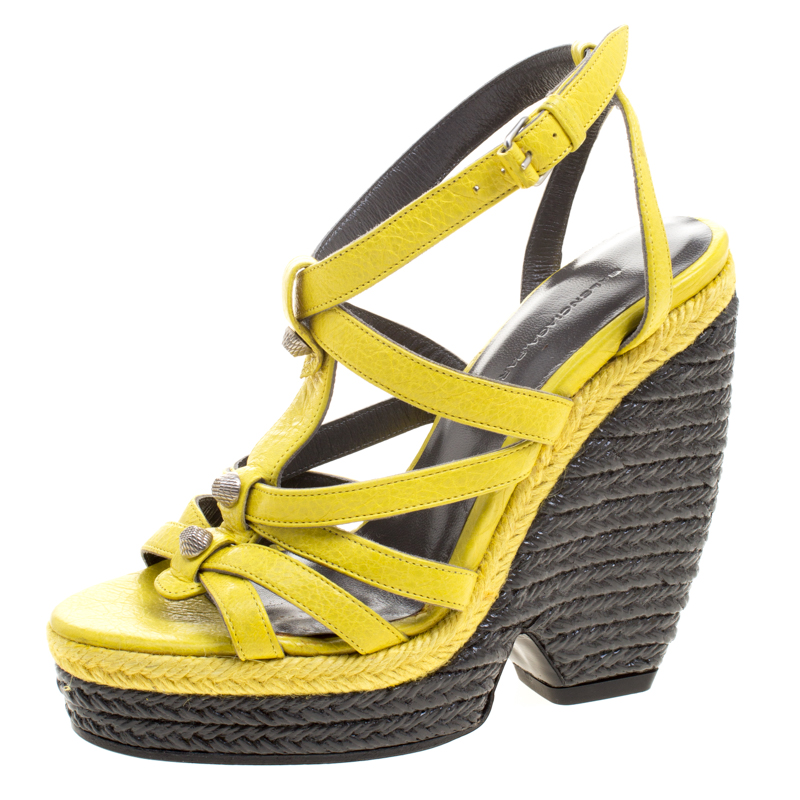 0bd5899048f Buy Balenciaga Yellow Leather Cross T Strap Wedge Espadrille Sandals ...