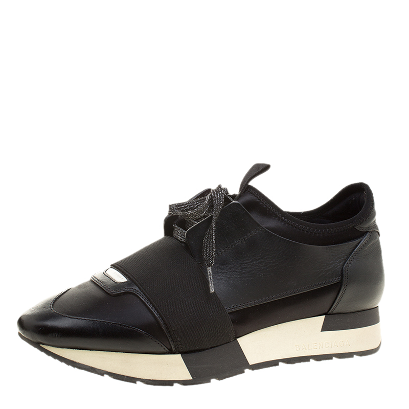 a95bad6074b3 Buy Balenciaga Black Leather Race Runner Sneakers Size 37 135828 at ...