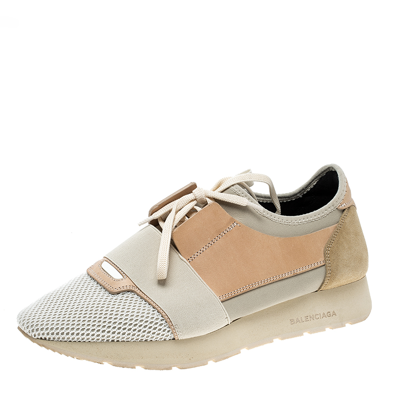 659e940667758 Buy Balenciaga Two Tone Leather And Mesh Mixed Media Lace Up ...