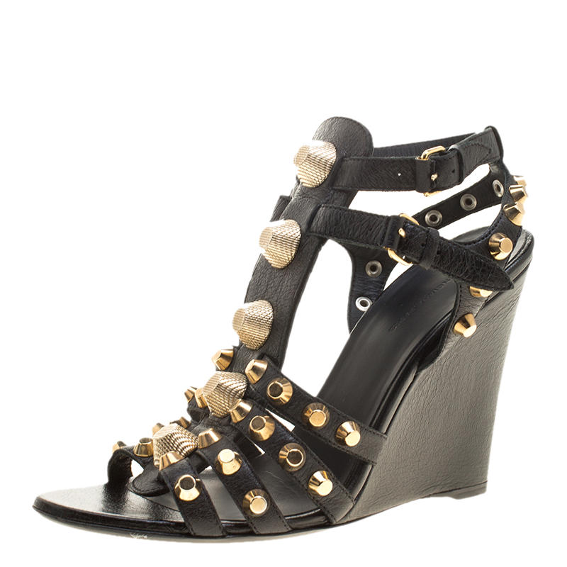 904cf4abff2b Buy Balenciaga Black Leather Arena Studded Gladiator Wedge Sandals ...