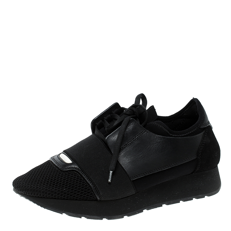 130e684c774de Buy Balenciaga Black Leather and Mesh Match Lace Up Sneakers Size 37 ...