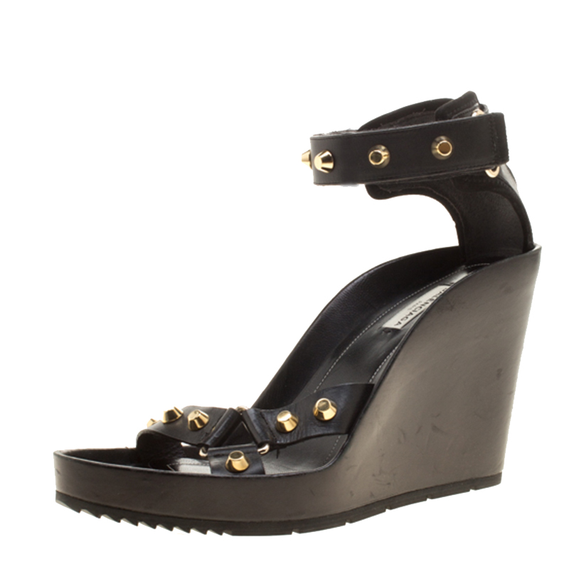 6a910af9bcba Buy Balenciaga Black Leather Arena Studded Wedge Sandals Size 41 ...