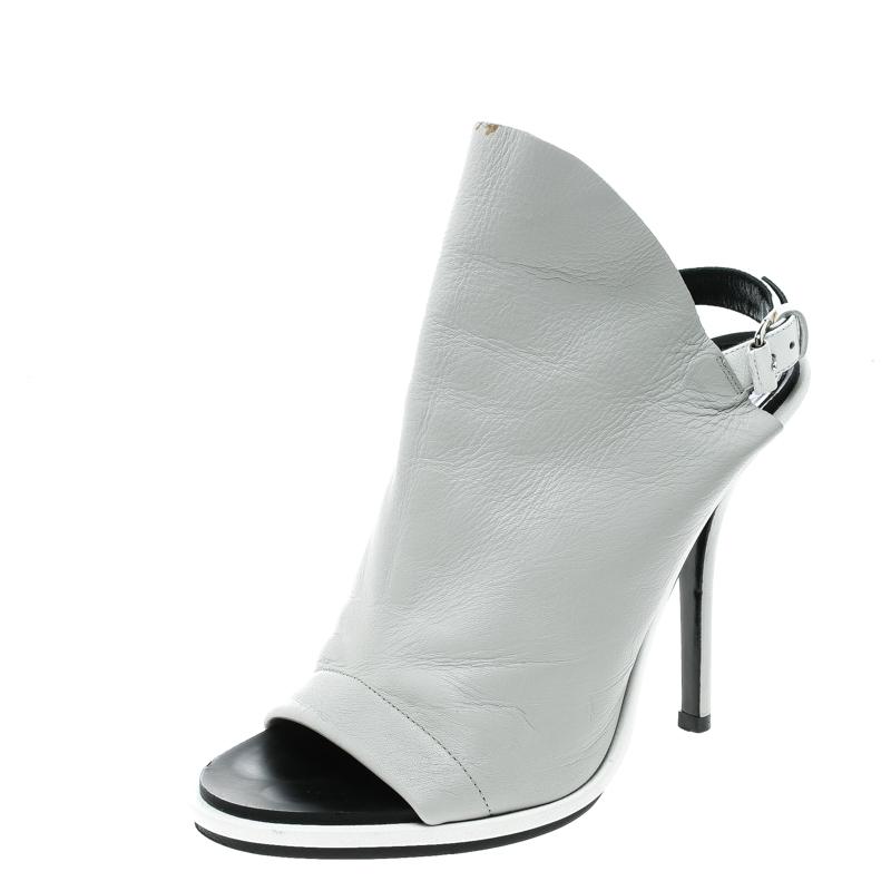Peep Leather 37 Balenciaga Sandals Grey Glove Buy 143690 At Toe Size TFlJ3K1c