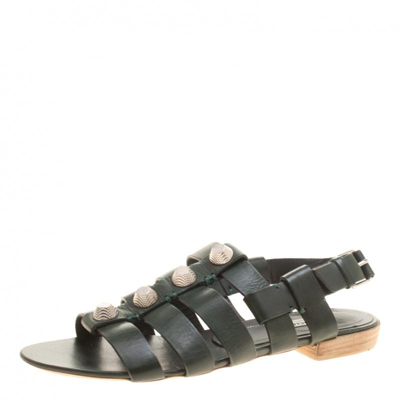 f2a4006e7b Balenciaga Green Leather Giant Gladiator Sandals Size 39