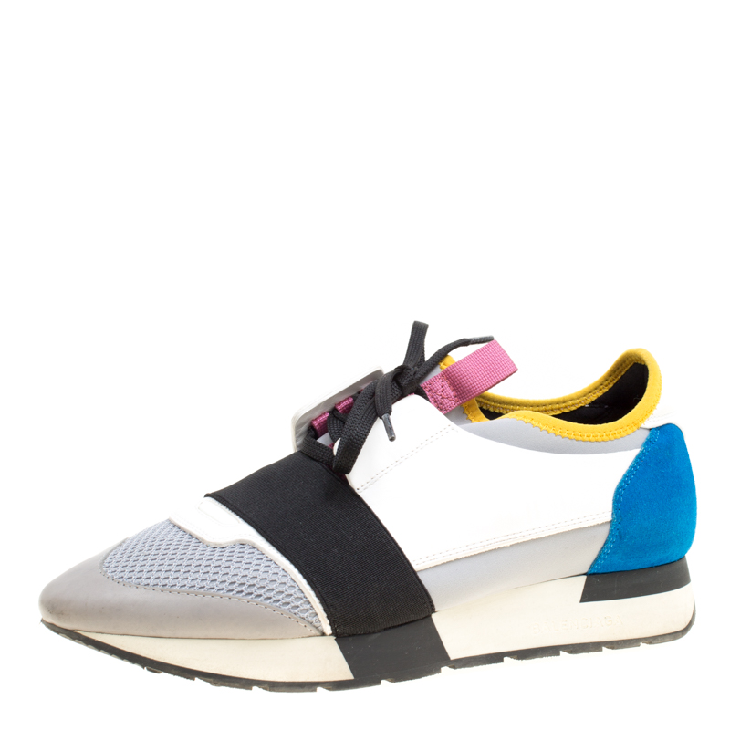 9b98abef6fc0 Buy Balenciaga Multicolor Mesh And Suede Race Runner Sneakers Size 39  163049 at best price
