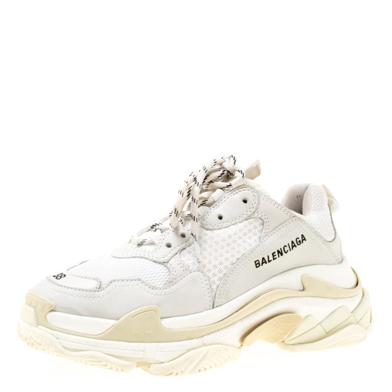 017b6fdf9a Buy Balenciaga White Mesh And Leather Triple S Platform Sneakers ...