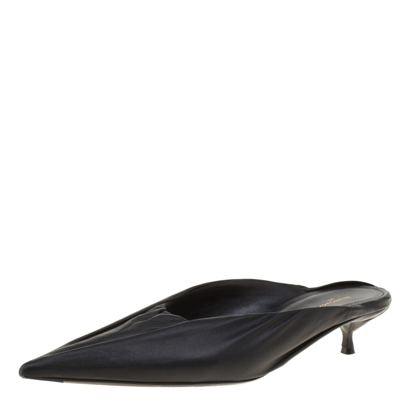 many fashionable recognized brands outlet online Balenciaga Black Leather Knife Pointed Toe Mules Size 39