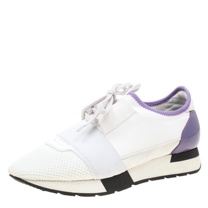Runner Sneakers Balenciaga Race And Whitepurple Buy Mesh Leather 5R4AjL