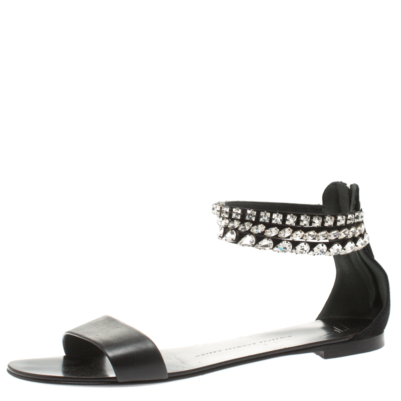 ee9e6b9aaf4b ... Giuseppe Zanotti Black Leather And Suede Crystal Embellished Ankle Cuff Flat  Sandals Size 39. nextprev. prevnext