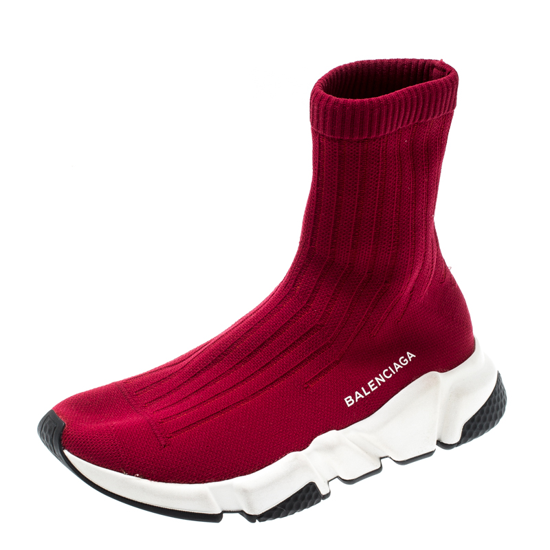 4590c2a8f4fd5 Buy Balenciaga Red Cotton Knit Speed Sock Sneakers Size 36 200822 at ...