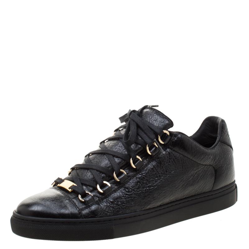 Balenciaga Black Leather Arena Low Top