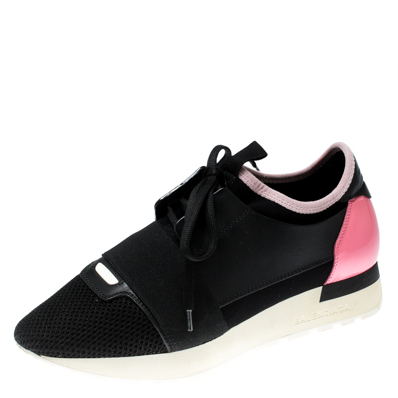 2018 shoes official supplier various styles Balenciaga Black/Pink Leather And Mesh Race Runners Sneakers Size 37