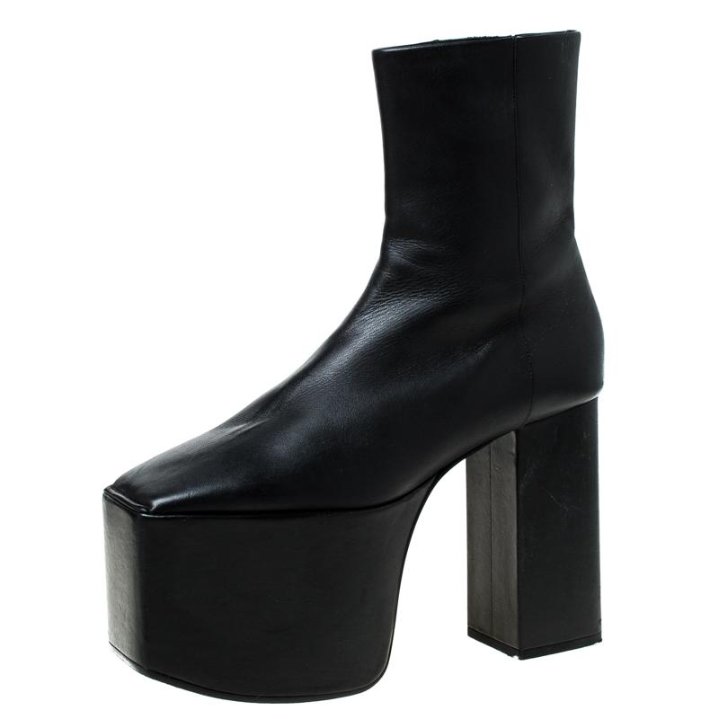 Balenciaga Black Leather Platform Ankle Boots Size 39