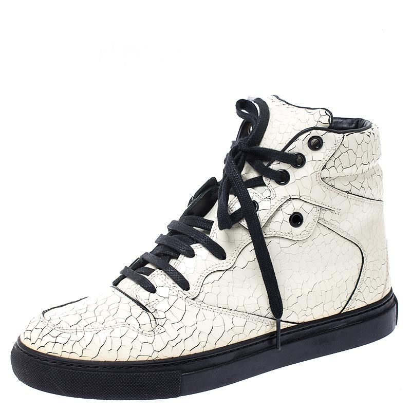 Balenciaga Off White Cracked Leather