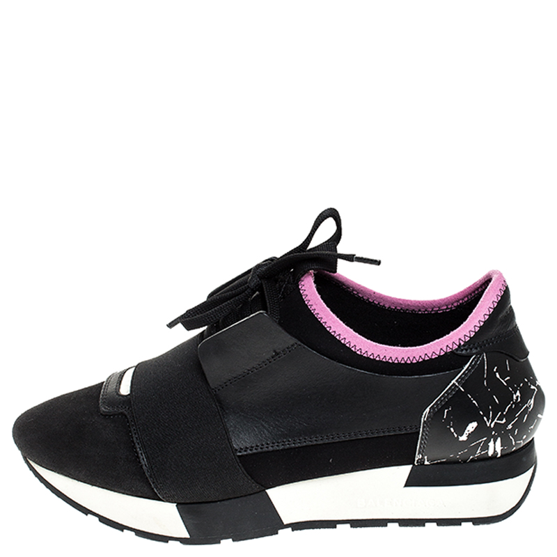 Balenciaga Black/Pink Leather, Suede And Nylon Race Runners Sneakers Size