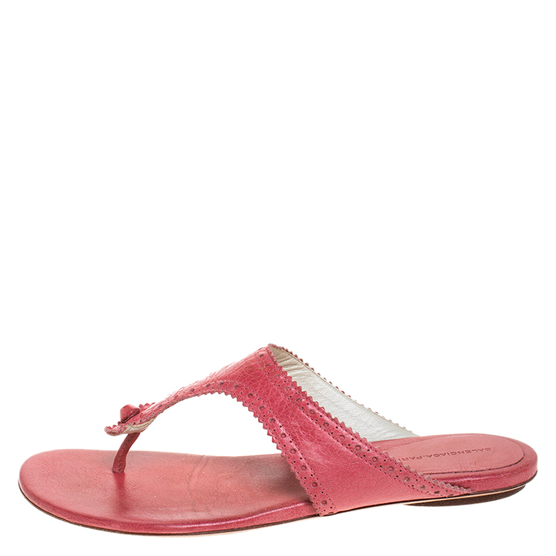Balenciaga Pink Brogue Leather Thong Flats Size 39  - buy with discount