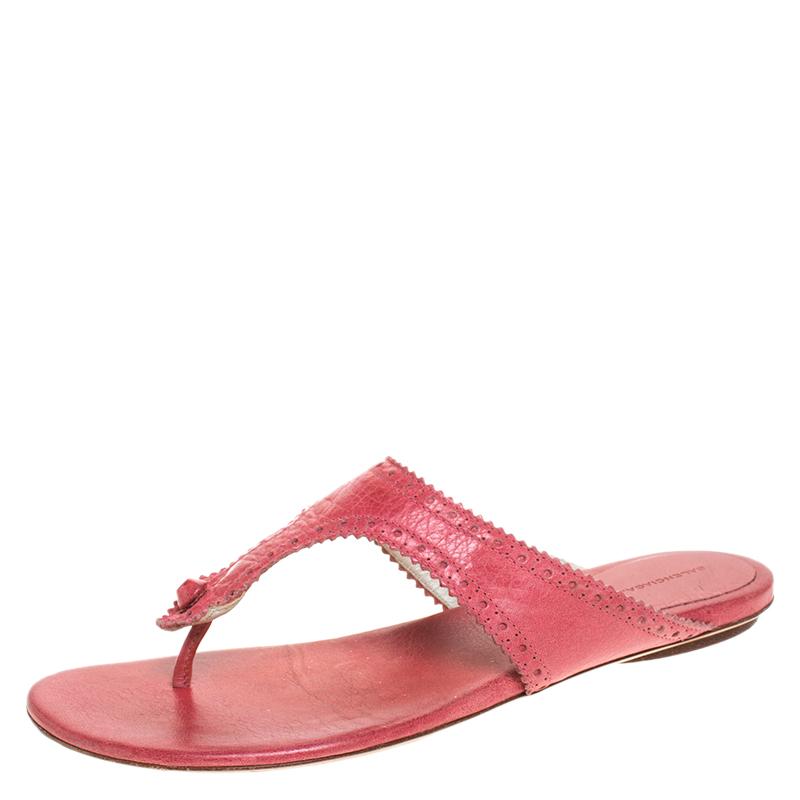 Balenciaga Pink Brogue Leather Thong Flats Size 39