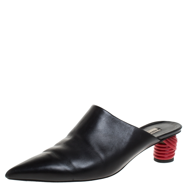 Balenciaga Black Leather Bistrot Mules Size 41