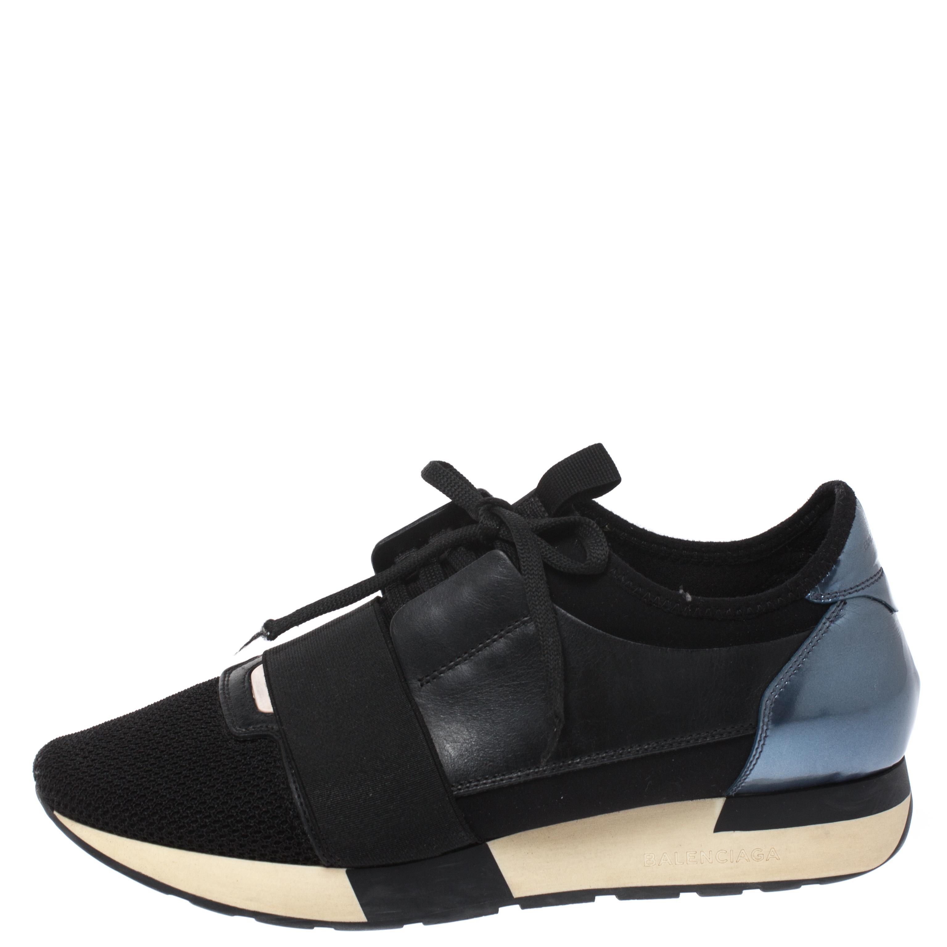 Balenciaga Black Leather And Mesh Race