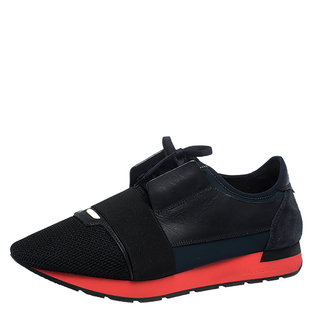 Red Leather And Mesh Race Runner Low