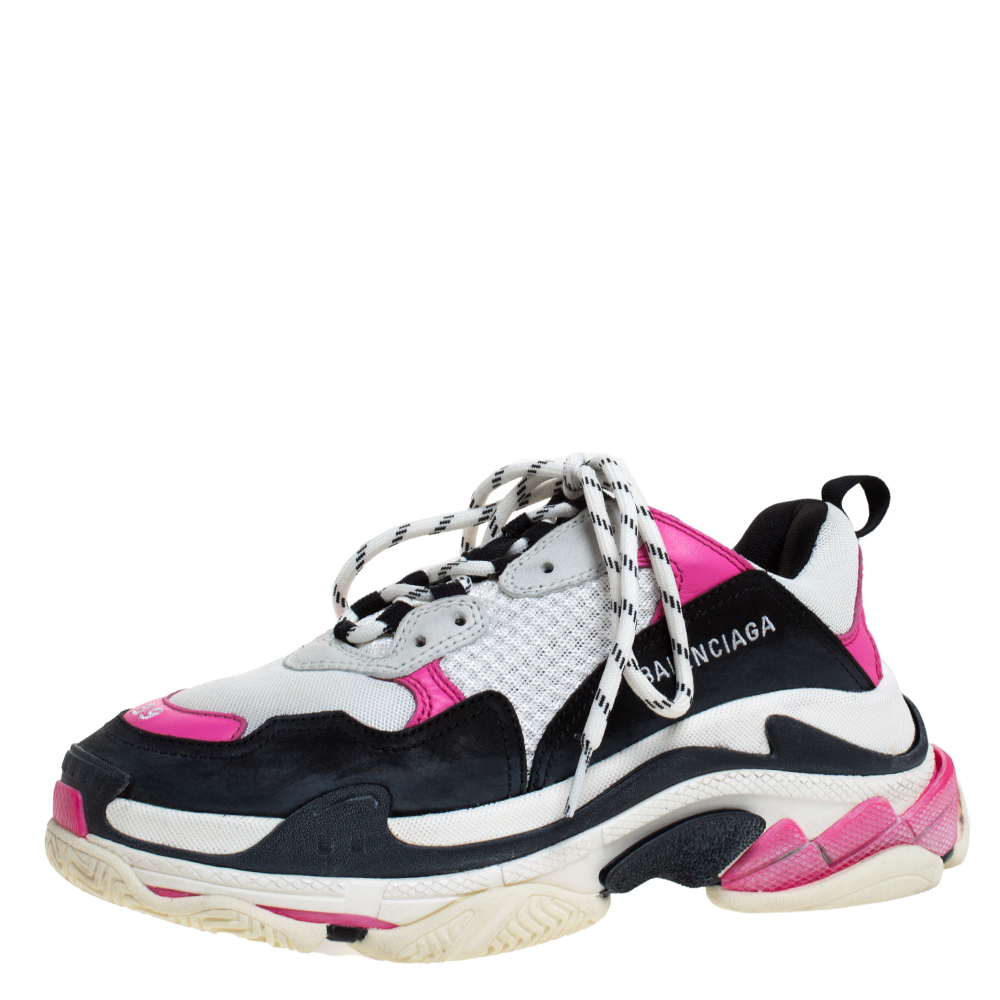 Balenciaga Multicolor Mesh And Leather Triple S Platform Sneakers Size 39