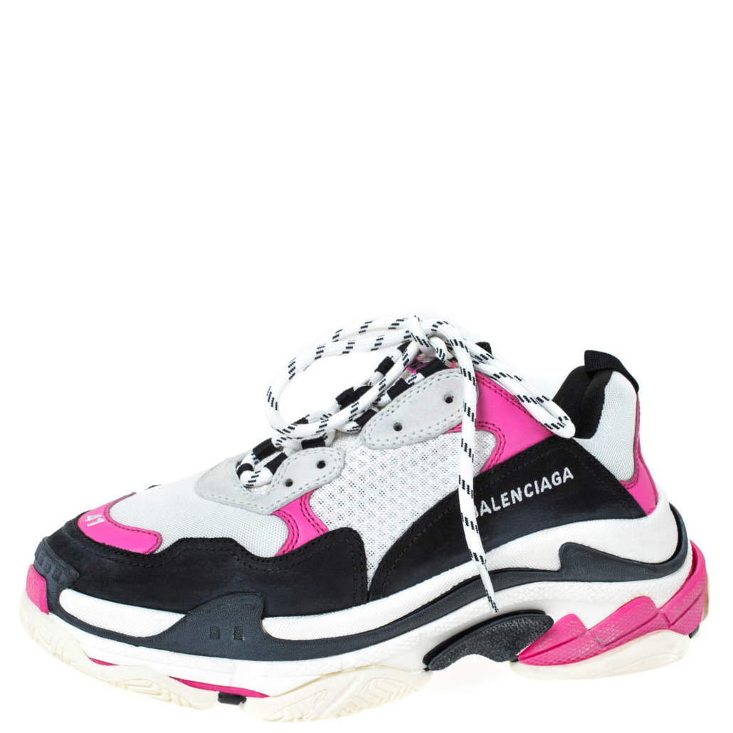 Balenciaga Neon Pink/Black Nubuck, Leather And Mesh Triple S Platform Sneakers Size 41